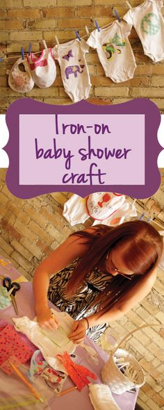 Iron-on baby shower craft: All you need are onesies, bibs, burp clothes, an iron, heat n' bond, scissors and fabric! Super easy and can be used as shower decor on a clothes line.