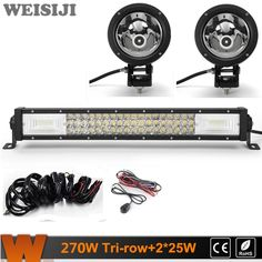 183.00$  Know more - http://ai3eh.worlditems.win/all/product.php?id=32780157342 - WEISIJI 22inch 270W Tri-row LED Light Bar+2Pcs 25W 4*4 Offroad LED Work Light+2Pcs Wiring Kits Sets for Jeep Truck SUV ATV UTV