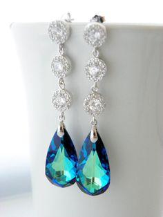 Long Peacock Wedding Earrings Bermuda Blue by EstyloJewelry