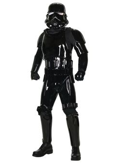 Alter Ego Comics presents the Black Shadow Trooper Supreme Edition Costume by Rubies. This elite member of the Galactic Empire includes a jumpsuit with molded armor pieces (chest, back and lower back, codpiece, belt, shoulder and bicep, gauntlets, thigh, knee and shin pieces) gloves and collector's edition helmet. Available in adult sizes Standard and XL.