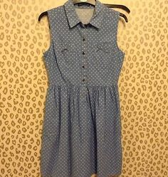 polka dot denim dress £10 - came with a thin brown belt too