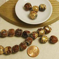 Gold Leaf Mala Terracotta - 108 pieces - Prayer Beads - 10-12mm - byRobertaBobbi
