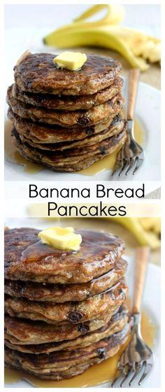 Best Ever Banana Bread Pancakes - Hold the Grain Gluten Free Recipes For Breakfast, Vegetarian Breakfast, Eat Breakfast, Dairy Free Recipes, Brunch Recipes, Whole Food Recipes, Cooking Recipes, Free Breakfast, Paleo Recipes