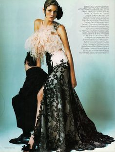 Black Gold | Angela Lindvall | Mario Testino #photography | Vogue UK December 2000