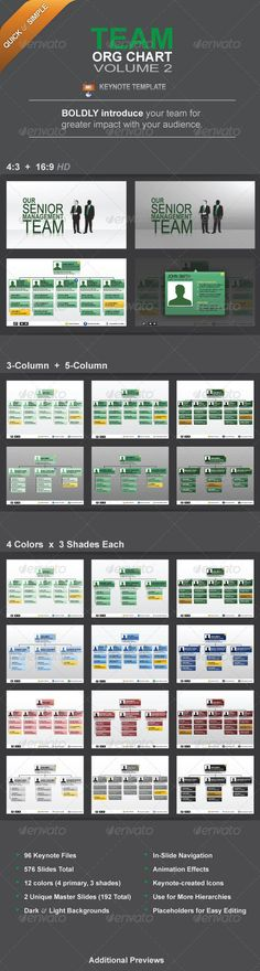 Team Org Chart Vol. 2  #GraphicRiver         Overview  Team Org Chart Vol. 2 Keynote Presentation Template with custom Keynote-native graphic elements and animation.  These slides are best used with your business/science proposal or any presentation in which you want to boldly and professionally introduce your team members.  Each of your key team members has their own highlight slide to which you can navigate directly from each main org chart slide. Ideal for business, science and personal…