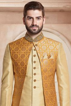 Whatsapp on to order the outfit. Big Men Fashion, African Men Fashion, African Fashion Dresses, Sherwani Groom, Mens Sherwani, Wedding Sherwani, Blazer Outfits Men, Komplette Outfits, Wedding Dress Men