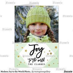 Modern Joy to the World Photo Holiday Greeting Card
