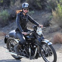 "caferacersofinstagram: "" @tamararaye out for a ride on a 1952 Vincent Black…"