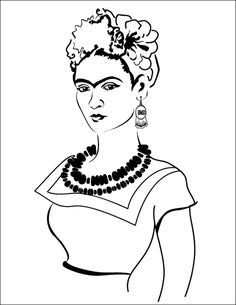 Frida Kahlo before the accidents of her teen life, was a young girl with the world at her finger tips. With support… . Frida Kahlo before the accidents of her Online Coloring Pages, Adult Coloring Pages, Coloring Books, Coloring Sheets, Graffiti Wall Art, Mural Art, Arte Latina, Frida Art, Drawing Sketches