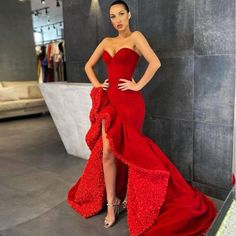 African Prom Dresses, Prom Girl Dresses, Glam Dresses, Pretty Dresses, Ruffled Dresses, Red Ruffle Dress, Unique Prom Dresses, Wedding Dresses, Met Gala Outfits