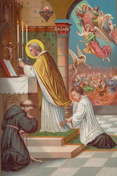 "purgatorialsociety: "" Saint Nicholas offering the Holy Sacrifice of the Mas for the Poor Souls in Purgatory """