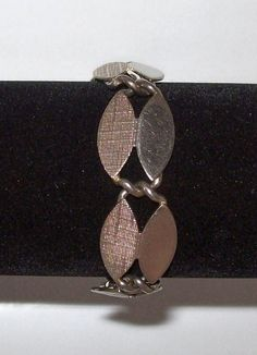 Vintage Bracelet - Tweed Patterned Metal Ovals - 1960s, $27.00