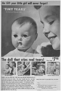 """Tiny Tears was a doll manufactured by the American Character Doll Company. She was introduced in 1950 and remained in production through 1968.[1] Her distinguishing feature was her ability to shed tears from two tiny holes on either side of her nose when her stomach was pressed after being filled with water from her baby bottle. In 1959 Tiny Tears acquired """"rock-a-bye"""" eyes that slowly closed when she was laid horizontally and gently rocked.    Tiny Tears was sold in a pink and white checked…"""