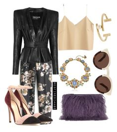 """""""Leather & Floral"""" by d3finedimage ❤ liked on Polyvore featuring J.Crew, Gianvito Rossi, House of Holland, Balmain, Betsey Johnson, Jason Wu and Illesteva"""