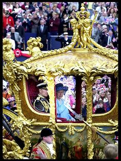 Golden Jubilee: Queen Elizabeth II rides in the Gold State coach from Buckingham Palace
