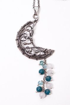 Selune cresent moon necklace made from fine and by MorennDesigns