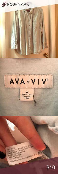 Ava & Viv Size 4X Target Denim Shirt Light denim, lightweight size 4X Ava & Viv Button up shirt. Only worn once. Purchased from target. Ava & Viv Tops Button Down Shirts