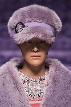 0c14aa5fffe Miu Miu Fall 2017 - Runway photo of fuzzy purple hat