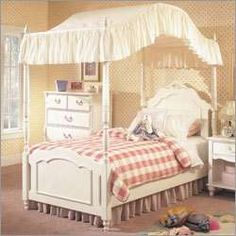 canopy bed - my room was redone when I got back from camp. I got my dream white canopy bed. Full Size Canopy Bed, Canopy Beds, Girls Canopy, Canopy Bedroom, White Canopy, Bed Furniture, White Furniture, My Childhood Memories, Girls Dream