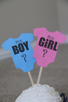 Onesie Gender Reveal Cupcake Toppers - 12 https://www.etsy.com/listing/129205761/onesie-gender-reveal-cupcake-toppers-12?ref=shop_home_active