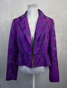 Lux Purple Satin Floral Brocade Cocktail Jacket with Peplum Size XS/Small #JeanPierreGeorgesHondros