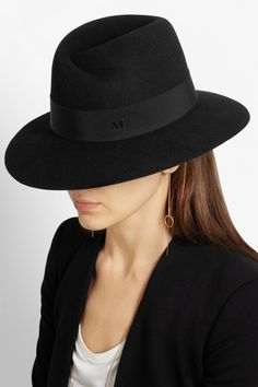 MAISON MICHEL Fedora en feutre de lapin Virginie €350 Black Fedora Outfit 083d5d01b08c