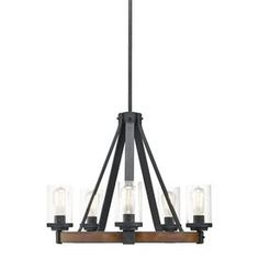 Kichler Lighting Barrington 5 Light Distressed Black and Wood Rustic Clear Glass Candle Chandelier, W Deco Design, Küchen Design, House Design, Design Ideas, Farmhouse Chandelier, Candle Chandelier, Industrial Chandelier, Contemporary Chandelier, Rustic Industrial