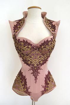 A Royal Black cupped corset design