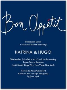 Good Appetite - Signature White Rehearsal Dinner Invitations in Navy or Pistachio Rehearsal Dinner Invitations, Wedding Rehearsal, Rehearsal Dinners, Shower Invitations, Wedding Invitations, Invites, Wedding Paper Divas, Youre Invited, Bon Appetit