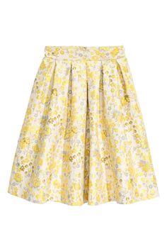 Jacquardgeweven plooirok - Lichtbeige/bloemen - DAMES | H&M NL skirt floral print beige and yellow