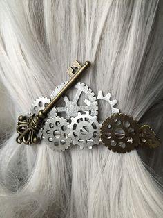 Mechanical Steampunk Key Hair Clip or by ArcanumByAerrowae on Etsy