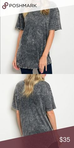 f90e95fb39048 NWT Charcoal Washed Top Fabric Content  100% COTTON Size Scale  S-M  Description
