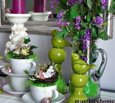 Beautiful Spring Sideboard featuring nests! #mustlovehome #springdecor #nests. 3/2015