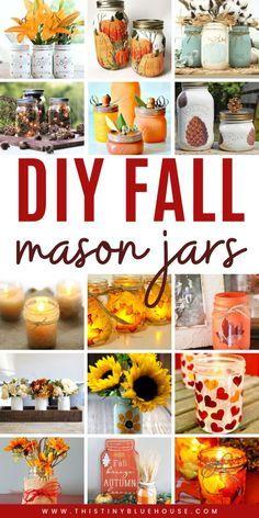Pot Mason Diy, Fall Mason Jars, Mason Jar Gifts, Mason Jar Thanksgiving Centerpieces, Mason Jar Projects, Autumn Crafts, Diy Thanksgiving Crafts, Jar Crafts, Kids Crafts