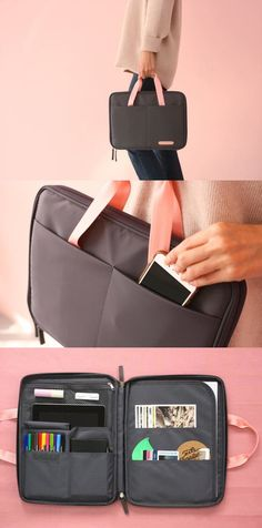 """The Better Together Tote Pouch is an awesome pouch to carry your daily items for school, work or others. You can organize your items neatly with its many pockets and also carry it conveniently with its cute handles! It is also spacious enough to hold up to 13"""" MacBook or an A4 size papers!"""