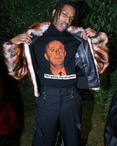ASAP Rocky Wears Dior Homme Fur Jacket, Turtleneck Sweater, Pants and Nike x Vlone Sneakers  |  UpscaleHype