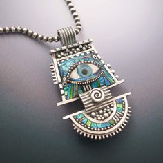 Large Silver and Polymer Eye Pendant with by LizardsJewelry, $655.00