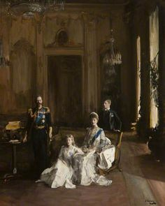 Second Study 'The King, the Queen, the Prince of Wales, the Princess Mary, Buckingham Palace'. By John Lavery.
