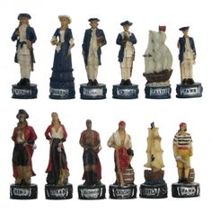 Pirates & British Navy Hand Painted Polystone Chess Pieces