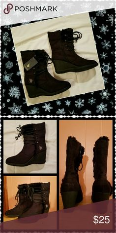 Black suede boots with fur. Adorable black boots with fur at the top. Ties in the front. Full zipper on the inside of the ankle. 3 inch wedge heel. Rubber soles. Man-made materials.11 inches tall. New in box. U. S. Polo Assn. Shoes Ankle Boots & Booties