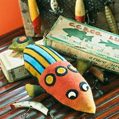 Folk Art Fish Pincushion A playful wool pincushion provides the perfect place to poke stray pins and needles.