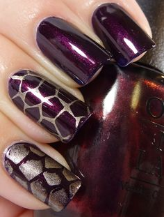 OPI: MMMMMMMM I love it! (is an indigo, purpley blue base with a ridiculous amount of shimmer); stamped with Barry M: Gold Foil - BM-313