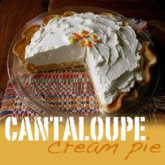 Cantaloupe cream pie - something I hadn't heard of until just recently. Really, it sounded a little weird to me. I mean, come on, cantaloupe? In a pie? Turns out, there are recipes for not Cantaloupe Recipes, Radish Recipes, Desserts Menu, Dessert Recipes, Sweet Desserts, Dessert Ideas, Yummy Recipes, Keto Recipes, Girl Scout Cookies Recipes