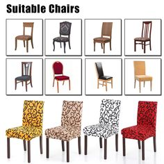 High Quality High Quality Stretch Removable Washable Short Dining Chair Cover Soft Milk Silk Spandex Printing Chair Cover Slipcover for Wedding Party Hotel Dining Room Ceremony Chair Seat Covers from tomtop.com