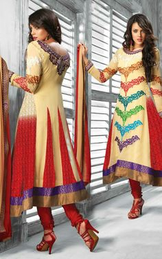 LIGHT YELLOW & RED GEORGETTE ANARKALI SALWAR KAMEEZ - DIF 28854