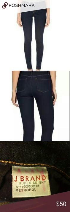 J. Brand Super Skinny Metropol Jeans Super soft and comfy dkinny jeans that have almost have a jegging feel to them. Material is 65% cotton, 33% tencel, and 2% elastic gor a stretchy feel! Small hole on the front see pic # 4, but you could go for the slight distressed look :) J. Brand Jeans Skinny