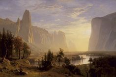 Albert Bierstadt, Yosemite Valley, 1868. Oil on canvas; 54-1/4 × 72-1/2 in. Collection of the Oakland Museum of California, gift of Miss Marguerite Laird in memory of Mr.  and Mrs.  P.W.  Laird.