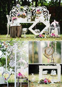 Frames, watches, clocks, pearls, ribbons, and bird cages!