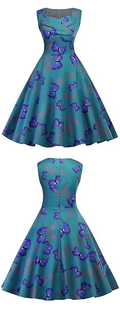 $23.12 Free Shipping Worldwide!Dresslily.com offers the latest high quality Vintage Dresses at great prices.Knee-length retro-inspired dress in a fit and flare silhouette featuring a gorgeous butterfly print.
