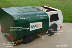 A DIY trash truck costume perfect for Halloween or playing dress up! Boy Costumes, Halloween Costumes For Kids, Costume Ideas, Halloween Ideas, Digger Costume, Cardboard Car, Memory Pillows, Garbage Truck, Trucks